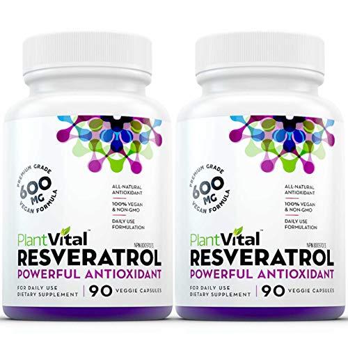 PlantVitalRESVERATROL HIGH POTENCY 90 Vegan Capsules (not pills) 600mg 50% Trans-Resveratrol Supplement Provides…