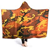 Punch-Sheroshop Kids Comfy Hooded Blanket for Travel Bed Decor, Orange Camouflage Camo Lightweight Wearable Throw Blanket, Ultra-Soft Plush Blankets 50X40 in
