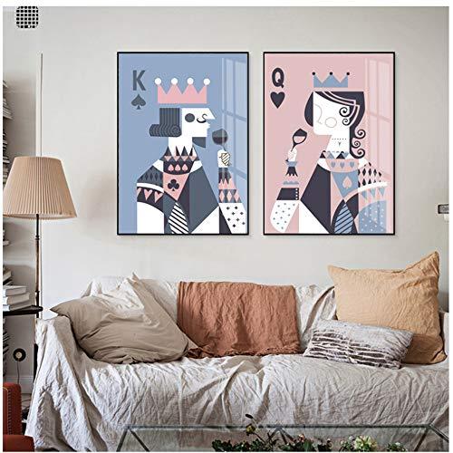 NIESHUIJING canvas schilderij print home decor abstracte poker kaart koning koningin drinken muur kunst poster galerie afbeelding 40x60cmx2pcs Kein Rahmen 1