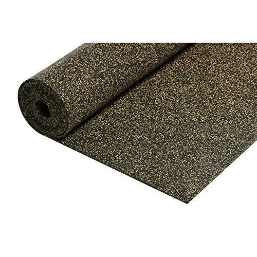 acerto 30002 Gummi-Korkmatte Trittschalldämmung 5,25m² / 5mm * Extrem belastbar * Verbesserung: 21 dBA * Wärmeisolierend Schallschutz als Laminat-Unterlage Parkett-Unterlage Vinyl-Unterlage Dämmplatte