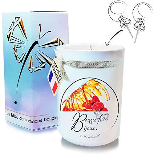 AG ArtGosse - Vela de Joyas Little 170 ml, Frambuesa de Caramelo, Regalo de Cristal de Swarovski Elements para Mujer, Ambiente de Fiesta de cumpleaños, Caja de Pendientes