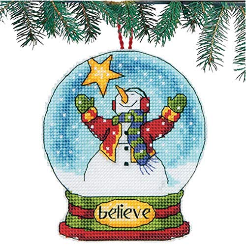 Dimensions Counted Cross Stitch Believe Snowman Snow Globe Christmas Ornament Kit, 3.75'' W x 4.5'' H
