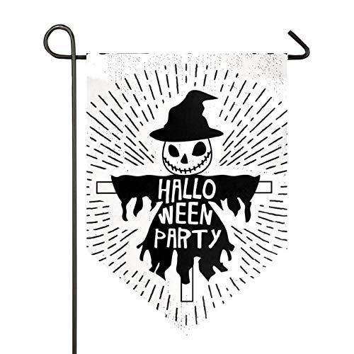 AMONKA Hallo - Bandera de jardín de espantapájaros (poliéster de doble cara), diseño de bandera de patio para decoración de casa, casa al aire libre, 28 x 40 pulgadas