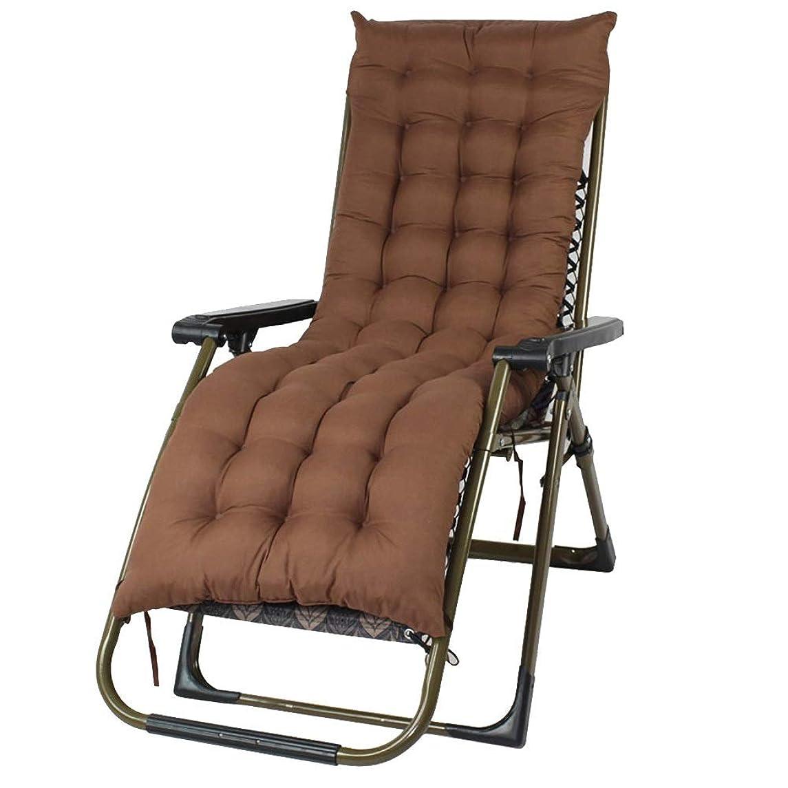 インフルエンザ罰するぶら下がるLVZAIXI リクライニングチェア屋外ガーデン家具、スクエアチューブスチールフレーム、90-160度調整、ブラックアームレスト - 厚いクッション付き (Color : Brown)