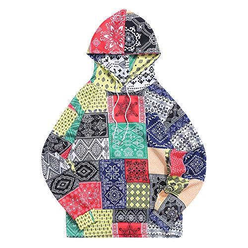 ZAFUL Hoodie Bandana Tribal Print Sweatshirt Casual Unisex Kangaroo Pocket Pullover Multi-A XXL