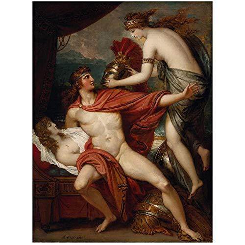 Gigoo Benjamin West Thetis llevando la Armadura a Aquiles Lienzo Impresiones artísticas de Pared para Sala de Estar decoración del Dormitorio 50x70 cm sin Marco