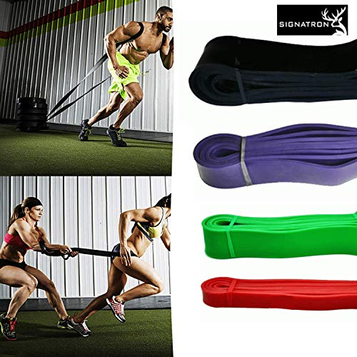 SIGNATRON Resistance Band for Workout-Loops 41 Inches Exercise Powerlifting Bands for Mobility and Body Stretching, Training, Pull Up Assist Light (15-35LBs)