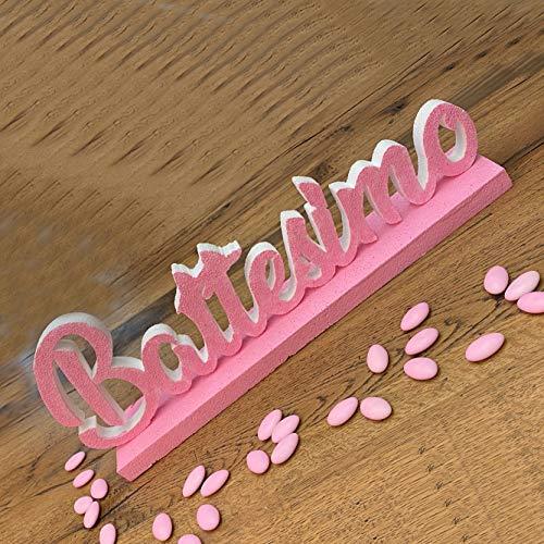 Viale Magico Polistirolo Personalizzati Nome in 3D con Base Colorata (Battesimo Rosa)