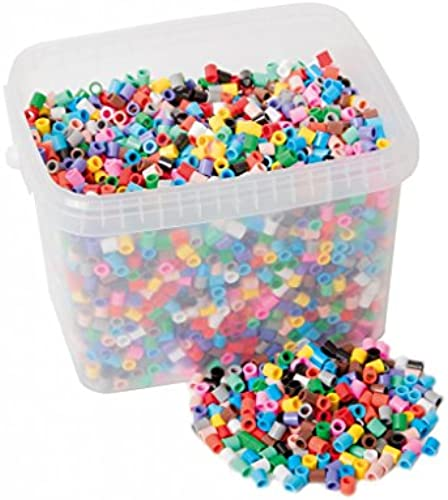 Bügelperlen SET XL 5000 Stück im Eimer + Stückplatten, 4er Set Quadrat, Auto, Herz + versch. Tierformen   Ma  13-23 cm hoch breit