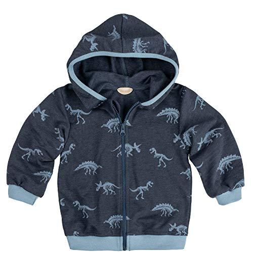 Lilakind Lilakind Kinder Jacke Sweatjacke Kapuzenjacke mit Reißverschluss Dunkelblau meliert Graublau Dinosaurier Gr. 74/80- Made in Germany