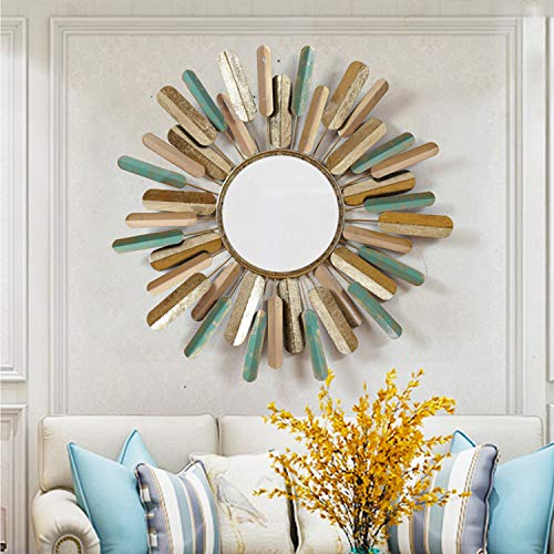 CJJC Creativo de la Vendimia de Hierro montado en la Pared Espejo Simple Moda Sol Flor Colgante de Pared Traje para Sala de Estar Dormitorio Pasillo decoración del hogar