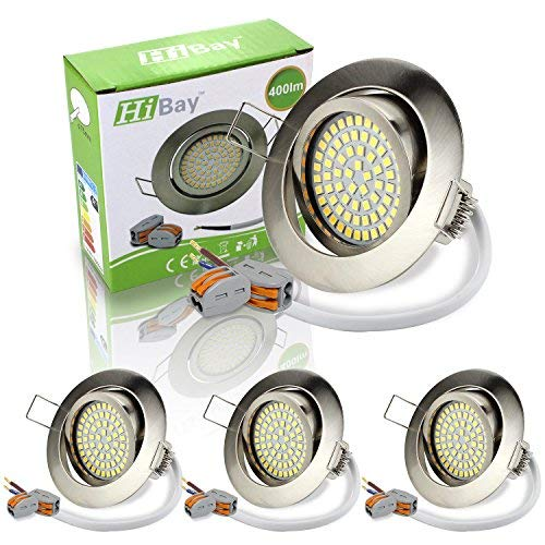 4er Ultra Flach LED Einbaustrahler Einbauspots Warmweiß 3,5W Deckenstrahler 230V Edelstahl Gebürstet Einbauleuchten 40° Schwenkbar-HiBay®