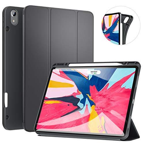 Ztotop Hülle für iPad Pro 12.9 Zoll 2018, Ultradünne Smart Cover Schutzhülle mit Stifthalter, Automatischem Schlaf/Aufwach, Unterstützt Das Aufladen des iPad Pencil, für iPad Pro 12.9 2018 - Grau