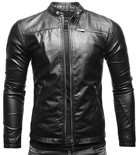 Crone Vego Herren Eco-Lederjacke Cleane Leichte Slim Fit Basic Jacke Vegan (XL, Schwarz Perforiert (Ecoleder))