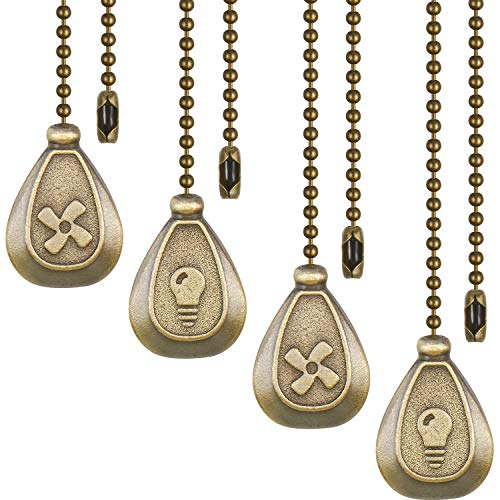 4 Pieces Bronze Pull Chains Ceiling Fan Pull Chain Extension Fan Pull Chain Pendant 12 Inch Ceiling Fan Chain Extender Ornament with Ball Fan Chain Connector (Bronze)