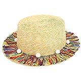 amorar Padres de niño Borla Plana Tapa Sombrero Kleine Ball Sombrero Verano Sombreros Parasol Cap para Verano Playa Vacaciones Viajes, Mujer, 2, Niño