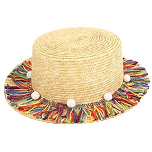 amorar Parents-Kind Multicolores Pompon Plat Casquette Petit Ball Chapeau de Soleil d'été Chapeaux Pare-Soleil pour Eté Plage Voyage Vacances Taille Unique #2