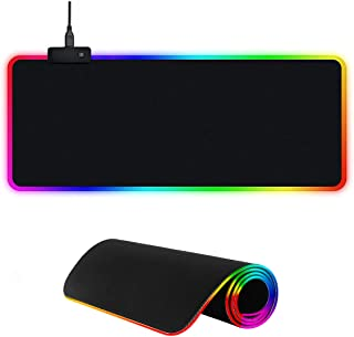E T EASYTAO RGB Gaming Mousepad de Escritorio, Alfombrilla con Luz Led para Teclado y Ratón, Goma Impermeable con Base Ant...