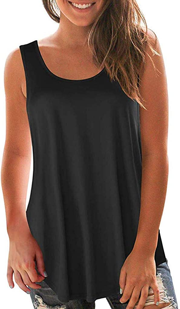 Tank Tops for Women Plus Size,Fashion Flowy Tops Sleeveless Casual Summer O-Neck Shirts Basic T Shirts Workout Tops
