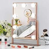 FENCHILIN 化粧鏡 女優ミラー 卓上鏡 ハリウッドミラー 三色照明モード 明るさ調節可能 9個LED電球付き 10倍拡大鏡付き 360度回転(ピンク)