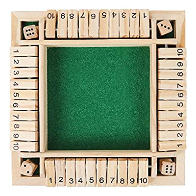 CNMF Shut The Box Wooden Board Dice Game, Board Game for Kids & Adults (2-4 Players) Classics Family Educational Learning Toy