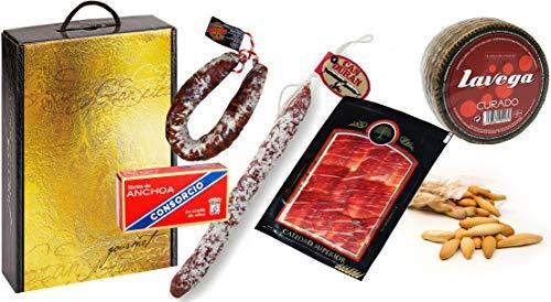 Lote de Embutidos: 1 Queso Curado de 1 Kg, 1 Chorizo Salamanca, 1 Fuet Can Duran, 1 Lata Anchoas Consorcio, 1 Paq....