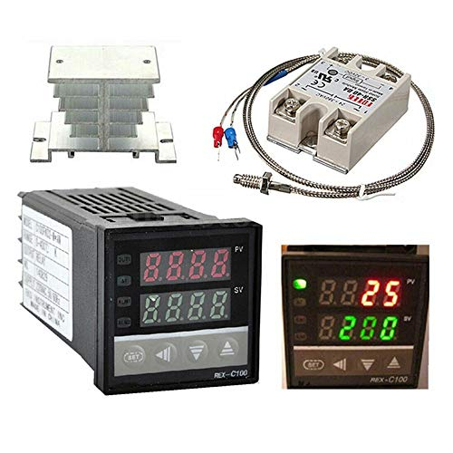 Digital PID Temperature Controller REX-C100 REX C100 Thermostat + SSR Relay+ K Thermocouple Thread Probe+Heat Sink