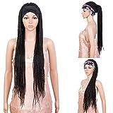 "Style Icon Headband Braided Wig 37"" Long Braid Wig Machine Made Glueless Headband Wig for Black Women (37 Inch, 1B)"