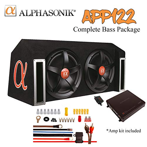 ALPHASONIK APP122 Complete 1500 Watts Dual 12 Subwoofers Car Bass Package with Amplifier and Installation Kit Included - 2 Sub Woofers with Grills in Custom Ported Box Loaded Enclosure, Black