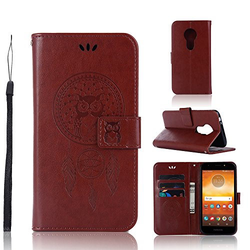 A-slim Moto E5 Play Case, Moto E5 Cruise Wallet Case,Moto E5 Play PU Leather Case Flip Case Owl Dreamcatcher Embossed Purse Kickstand Cover Card Holders Hand Strap for Motorola Moto E5 Play Brown