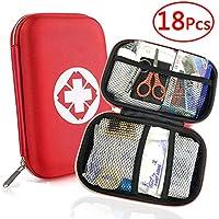 Th-some JAANY Botiquín de Primeros Auxilios de 18 artículos, Survival Tools Mini Box Kit Bolsa Médica para Emergencias para el Coche, Hogar, Camping, Caza, Viajes, Aire Libre o Deportes