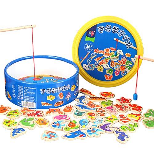 Lukame✯Pädagogisches Spielzeug Der Kinder,41Pcs Hölzernes Magnetisches Fischen-Spielzeug-Pädagogisches Spiel-Fisch-Fischen-Spielzeug