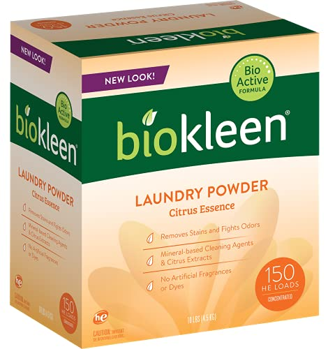 Biokleen Laundry Detergent Powder, Concentrated, Eco-Friendly, Non-Toxic, Plant-Based, No Artificial Fragrance, Colors or Preservatives, Citrus Essence, 10 Pounds - 150 HE Loads/100 Standard Loads