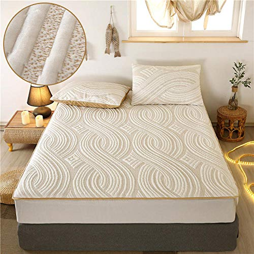 Bedding Bed Sheet,Knitted Cotton Solid Color Thick Waterproof Fitted Sheets, Single And Double Urine-Proof Mattress Protectors-Beige_180*200+30cm