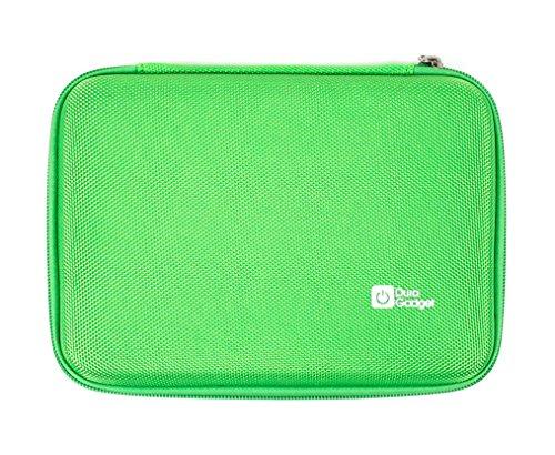 DURAGADGET Grünes 7 Zoll druckfestes Etui mit Nylonschicht Netzfach Klettverschluss für Tablets mit Bildschirmdurchmesser 17,78 cm E-Book-Readern Kinderlerntablets Grafiktabletts