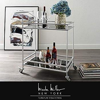 Nicole Miller Lonnie Bar Cart - 2 Glass Shelves   Locking Caster Wheels   Matte Metal Frame   Black/Silver
