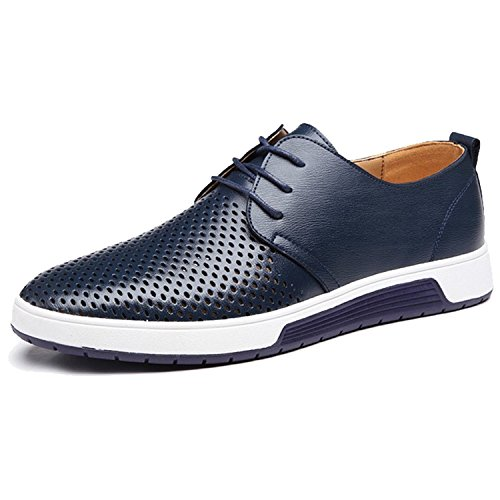ZZHAP Men's Casual Oxford Shoes Breathable Flat Fashion Sneakers Blue US 12