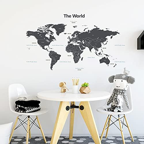 DECOWALL DWL-1609GS Mappa del Mondo Moderno Grigio(Medio)(Ver. Inglese) Adesivi da Parete Decorazioni Stickers Murali Soggiorno Asilo Nido Camera Letto per Bambini Decalcomanie