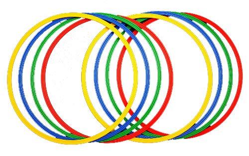 Sport Aro Set 8 Aros psicomotricidad en 4 Colores, Juventud Unisex, 2X Red, 2X Yellow, 2X Blue, 2X Green, Ø 60 cm