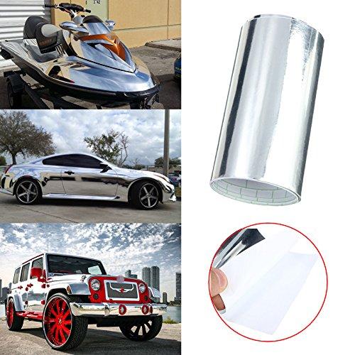 C-FUNN 10X152Cm Voiture Miroir Chrome Argent Vinyle Sticker Autocollant Film Feuille Voiture Bateau