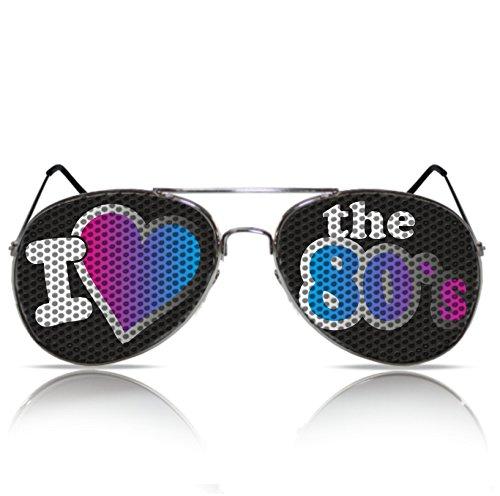 Lustige Partybrille Sonnenbrille 80er Jahre Style I love the 80´s Brille Hippie Verkleidung Sonnen Brille 80er (Pilot)