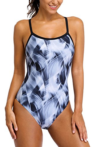 ALove Competitive One Piece Swimsuits for Women Athletic Racerback Swimwear Large Black