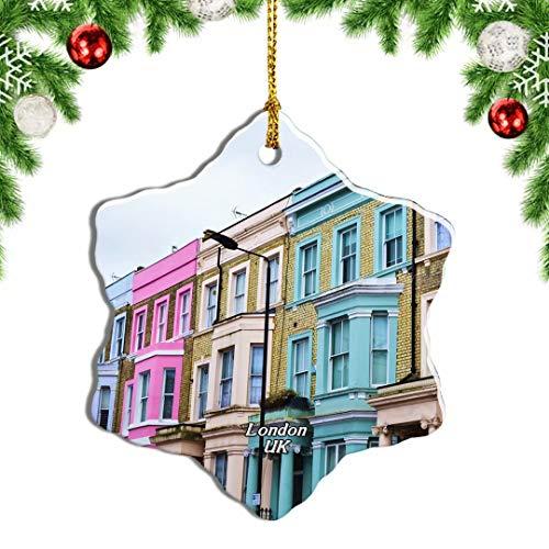 Weekino Regno Unito Inghilterra Londra Notting Hill Ciondolo Natalizio Souvenir di Viaggio per Ornamento di Natale Ceramica di Design a Doppia Faccia da 3 Pollici