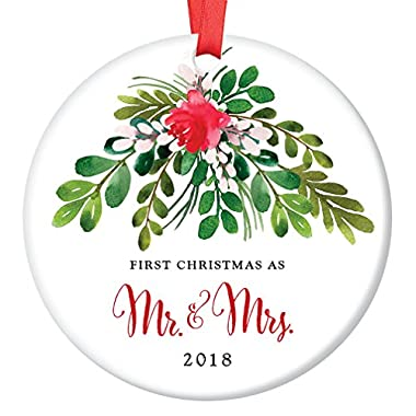 Mr & Mrs Ornament 2018, First Christmas as Mr & Mrs, 1st Married Christmas Porcelain Ornament, 3  Flat Circle Christmas Ornament w Glossy Glaze, Red Ribbon & Free Gift Box | OR00044 Loughlin