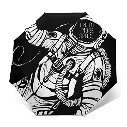 Winddichte automatische Regenschirme Ich Brauche mehr Platz Astronaut Cosmic Folding UV-Schutz Regenschirm-Tragetasche