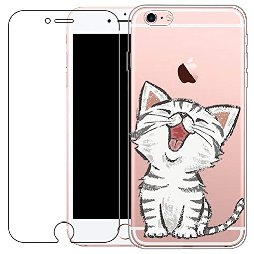 Funda iPhone 6 Plus,Funda iPhone 6S Plus, Funda [Con Protector de Pantalla de Vidrio Templado] Blossom01 Funda Ultra Fina de Gel de Silicona TPU Con Dibujo Animado Para iPhone 6 / 6S Plus - Gatos