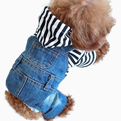 Companet Pet Clothes Pet Denim Dog Jeans Jumpsuit Overall Strip Hoodie Coat Small Medium Dogs Cats Classic Jacket Puppy Blue Vintage Washed