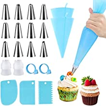 Silicone Icing Piping Bag,Reusable Cream Pastry Bag and 12× Stainless Steel Nozzle Set DIY Cake Decorating Tool(12×Nozzle, 2×Icing Cream Pastry Bag and 2 X Converter and 3×Scraper)
