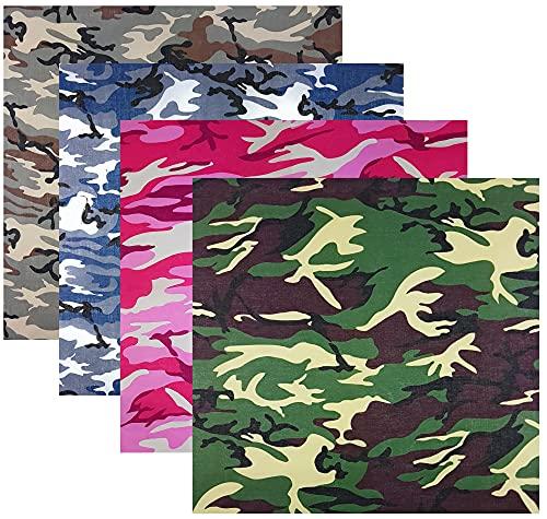 Pañuelo multifuncional de camuflaje, estilo militar, 100 % algodón, pañuelo para la cabeza, pañuelo multifunción, unisex, monocolor, Pack de 4 grises: azul grisáceo, rosa fucsia, verde, Talla única