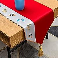 タッセル、160-300cmの長いダイニングテーブルランナー、モダンな結婚式の刺繍ドレッサースカーフ、洗える (Color : A, Size : 34×280cm/13.4×110inch)
